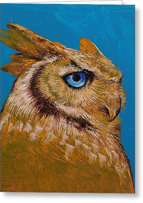 Great Horned Owl Greeting Card by Michael Creese