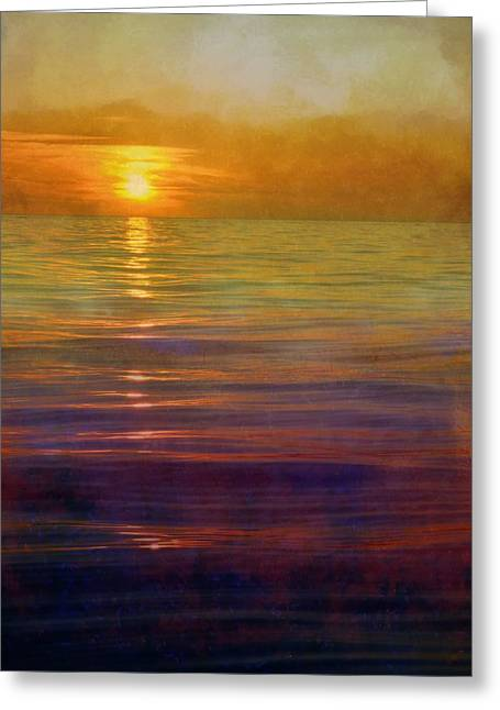 Greeting Card featuring the digital art Great Lakes Setting Sun by Michelle Calkins
