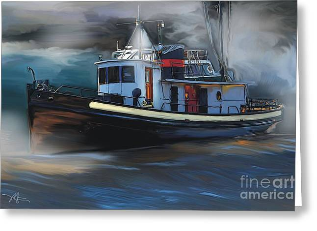 Great Lakes Tugboat Greeting Card by Bob Salo