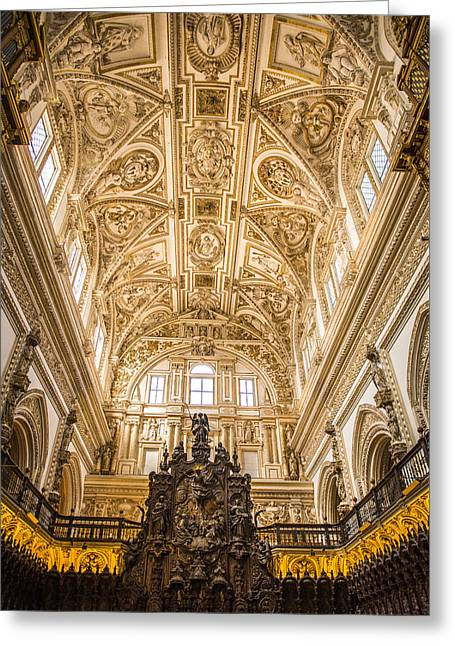Great Mosque Of Cordoba Ceiling - Cordoba Spain Greeting Card by Jon Berghoff