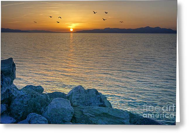 Great Salt Lake At Sunset Greeting Card