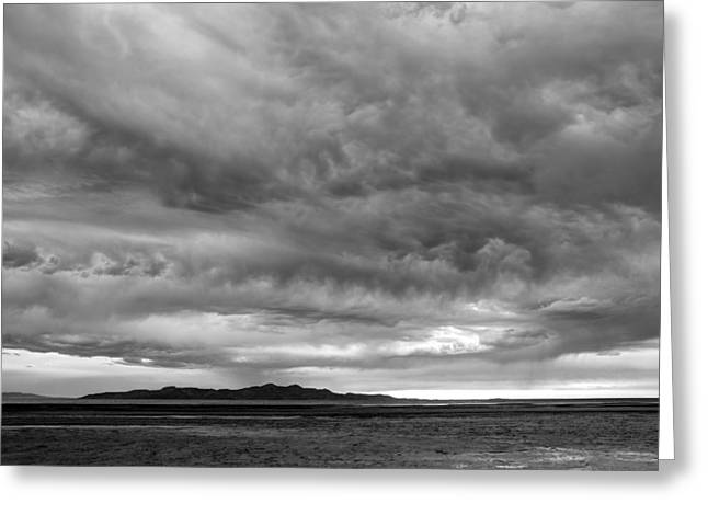 Great Salt Lake Clouds At Sunset - Black And White Greeting Card