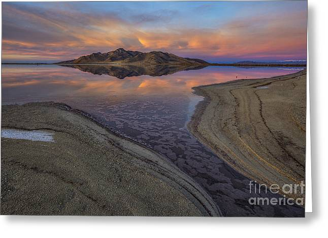 Great Salt Lake Sunset Greeting Card by Spencer Baugh