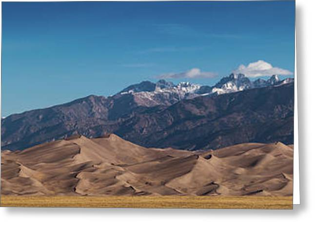 Greeting Card featuring the photograph Great Sand Dunes Panorama 4to1 by Stephen Holst