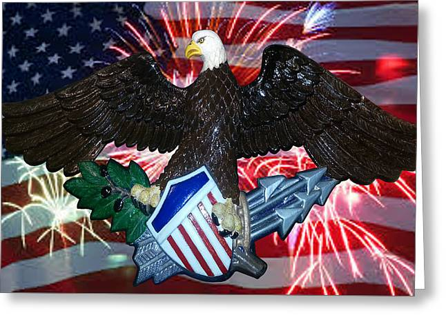 Great Seal Of The United States-fireworks Greeting Card by Carol Sue Bushell-Bousman