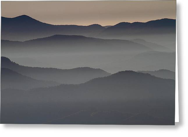 Great Smokey Mountains Shrouded In Fog Greeting Card
