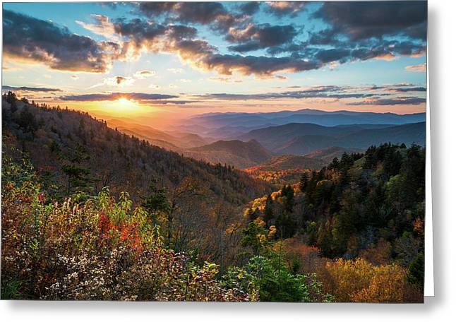 Great Smoky Mountains National Park Nc Scenic Autumn Sunset Landscape Greeting Card