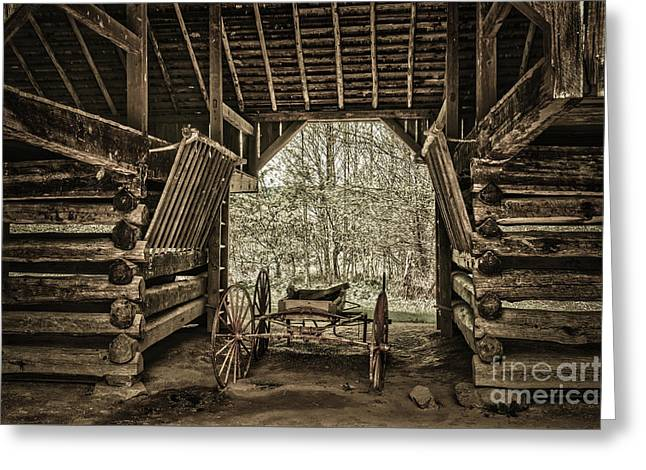 Great Smoky Mountains National Park, Tennessee - Broken Wagon. Cades Cove Greeting Card