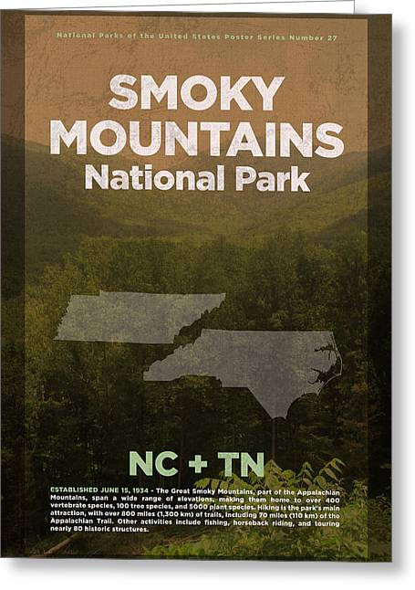 Great Smoky Mountains National Park Travel Poster Series Of National Parks Number 27 Greeting Card