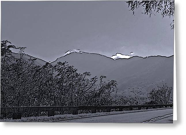 Great Smoky Mountains Panoramic View In Black And White Greeting Card by Marian Bell