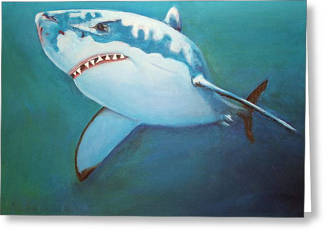 White Shark Greeting Cards - Great White 3 Greeting Card by Terry Lewey