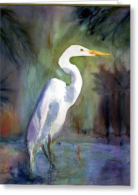 Great White Egret Greeting Card by Carol Sprovtsoff
