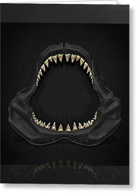 Great White Shark - Black Jaws With Gold Teeth On Black Canvas Greeting Card by Serge Averbukh