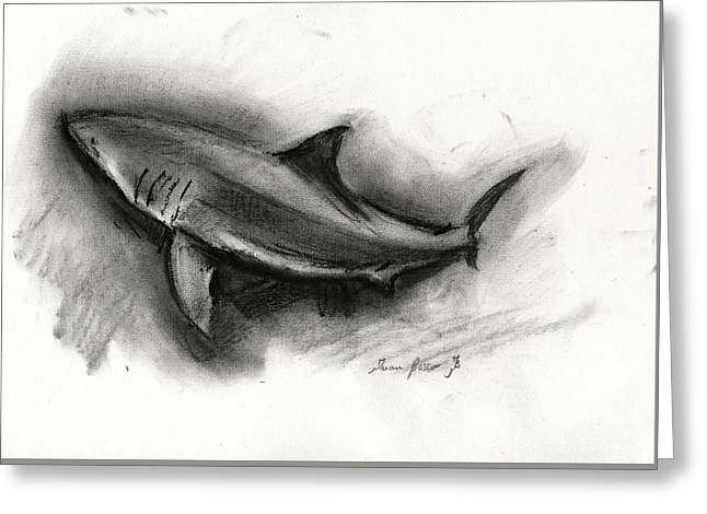 Great White Shark Drawing Greeting Card
