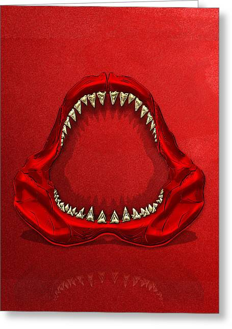 Great White Shark - Red Jaws With Gold Teeth On Red Canvas Greeting Card by Serge Averbukh