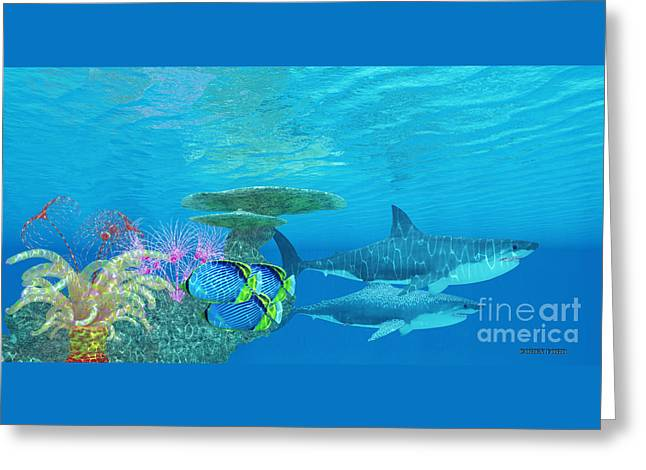 Great White Shark Reef Greeting Card by Corey Ford