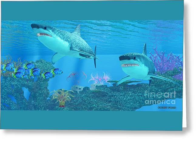 Great White Shark Shoal Greeting Card