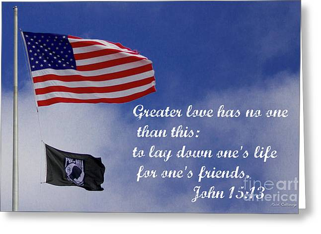 Greater Love American Flag Pow Mia Flag Art Greeting Card