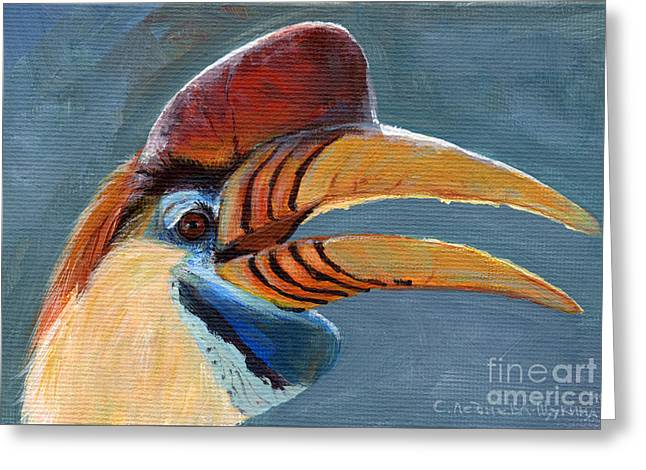 Greater Sulawesi Hornbill Greeting Card by Svetlana Ledneva-Schukina