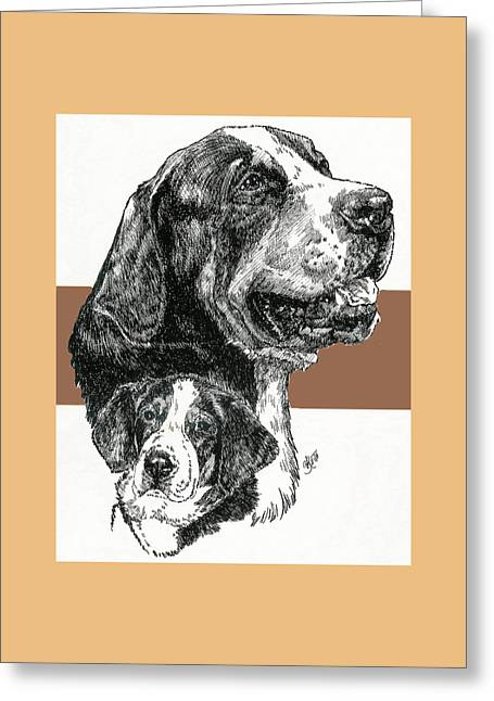 Greater Swiss Mountain Dog Father And Son Greeting Card by Barbara Keith