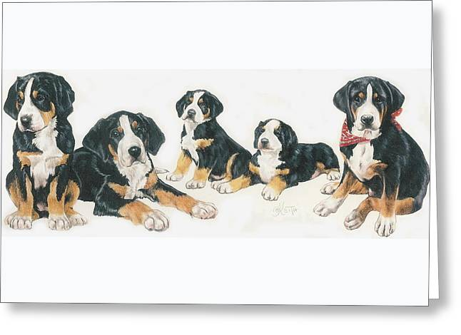 Greater Swiss Mountain Puppies Greeting Card by Barbara Keith