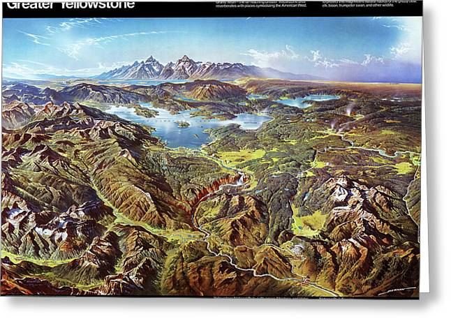Greater Yellowstone - Birds Eye View Map Of Yellowstone National Park And Grand Teton National Park  Greeting Card
