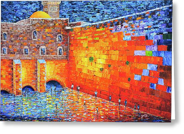 Greeting Card featuring the painting Wailing Wall Greatness In The Evening Jerusalem Palette Knife Painting by Georgeta Blanaru