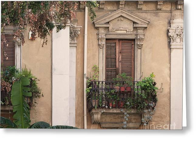 Grecian Courtyard Greeting Card by Victoria Harrington
