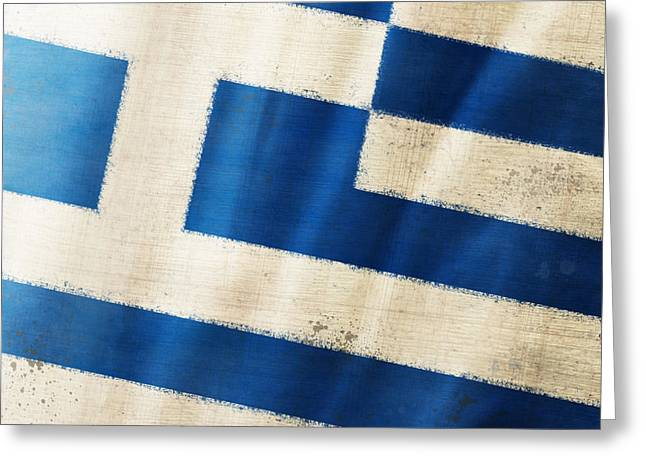 Greece Flag Greeting Card by Setsiri Silapasuwanchai
