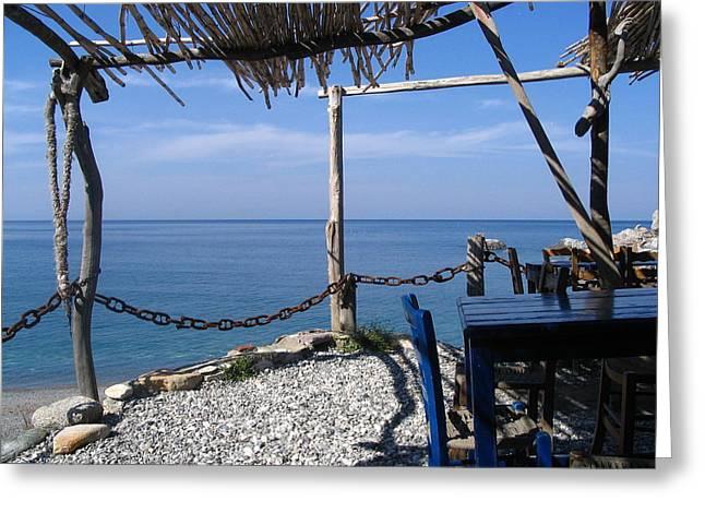 Greece Skiathos Kastro Taverna Greeting Card by Yvonne Ayoub