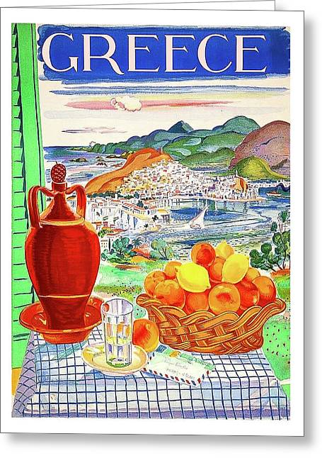 Greece Travel Poster Greeting Card by Long Shot