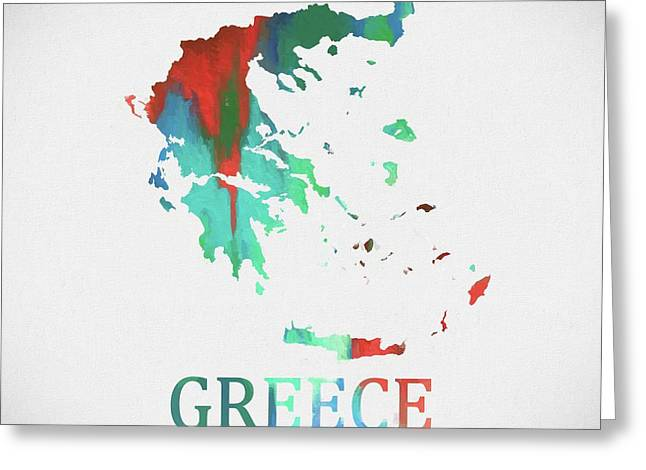 Greece Watercolor Map Greeting Card by Dan Sproul