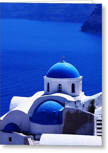 Santorini Greeting Cards - Greek blue vertical Greeting Card by Paul Cowan