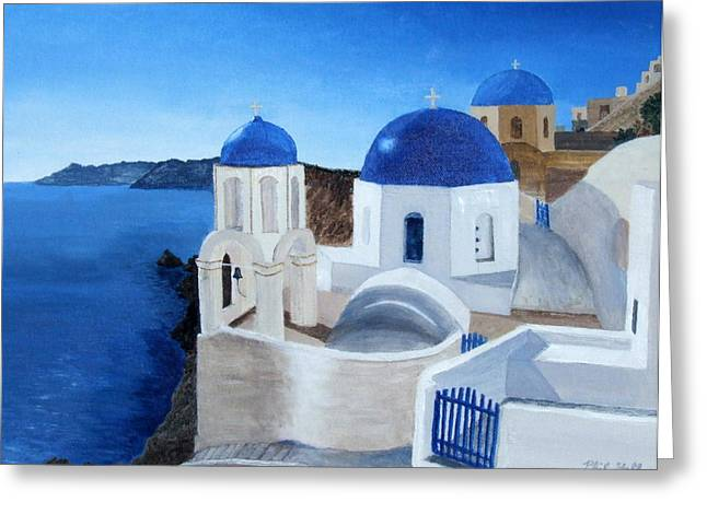 Greek Church At Santorini Greeting Card by Philip Hall