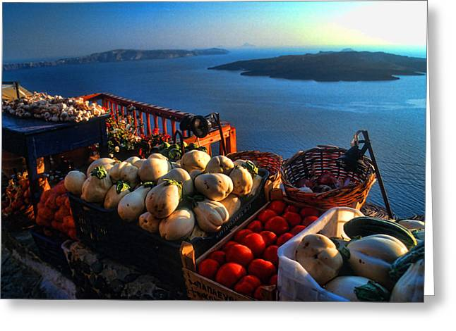 Famous Places Greeting Cards - Greek food at Santorini Greeting Card by David Smith