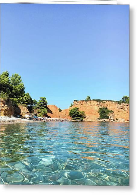 Greek Island Beach Greeting Card by Tom Gowanlock