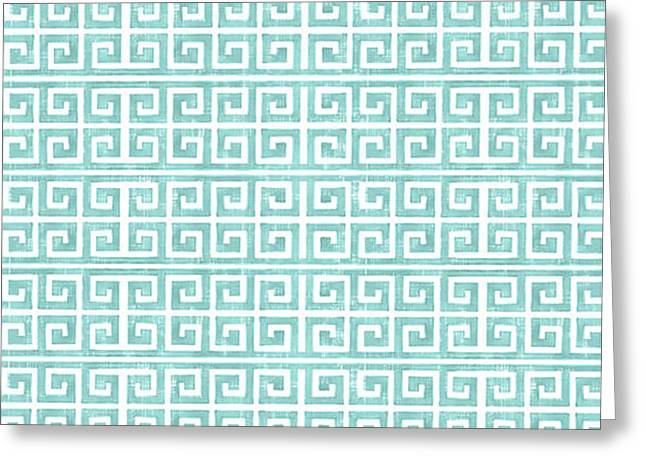 Greek Key Watercolor Pattern Beach Ocean Home Decor Greeting Card by Audrey Jeanne Roberts