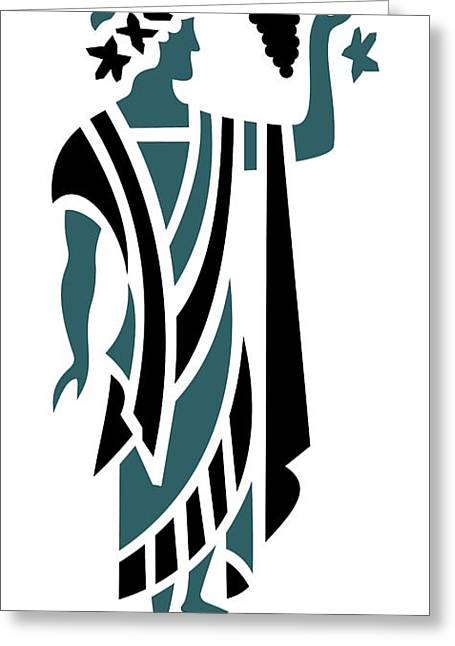 Greek Man Holding Grapes In Teal Greeting Card by Donna Mibus