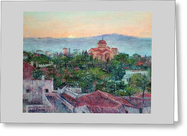 Greek Orthodox Sunset Greeting Card by Jill Musser