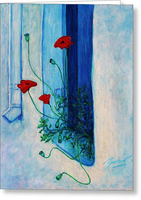 Greeting Card featuring the painting Greek Poppies by Xueling Zou