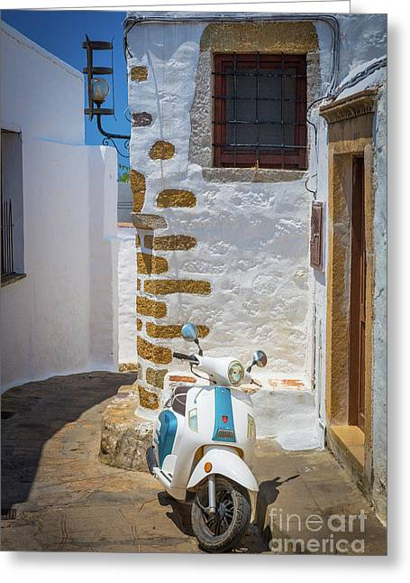 Greek Scooter Greeting Card by Inge Johnsson