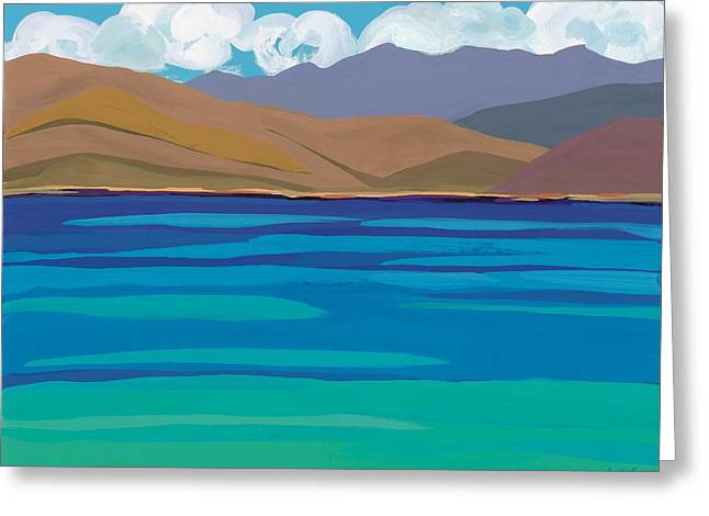 Greek Sea Greeting Card by Sarah Gillard