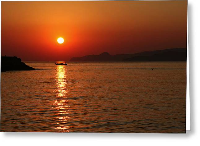 Greek Sunrise Greeting Card by Paul Cowan