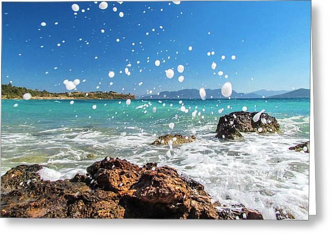Greek Surf Spray Greeting Card