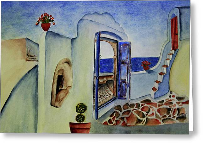 Greek Villa II Greeting Card by Mary Gaines