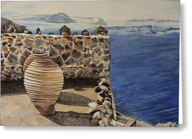Greekscape 4 Greeting Card by Caron Sloan Zuger