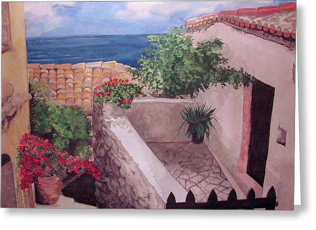Greekscape Greeting Card by Caron Sloan Zuger