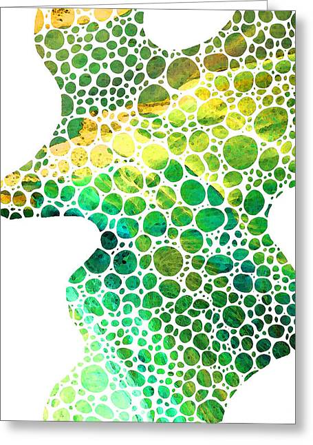 Green Abstract Art - Colorforms 4 - Sharon Cummings Greeting Card by Sharon Cummings