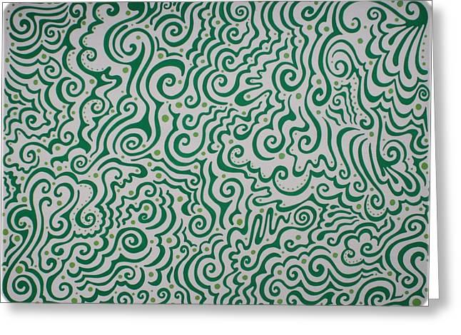 Green Abstract Greeting Card by Mandy Shupp