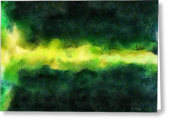 Green Abstract Greeting Card by Russ Harris